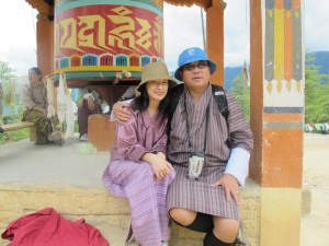 Chencho Tshering and his daughter, Kuenzang Tshering Yuden, the father and daughter team of Bhutan Yuden Tours